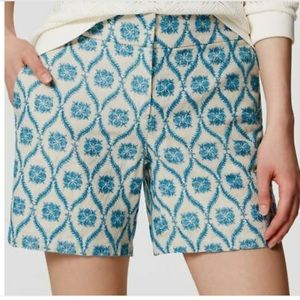 LOFT l The Riviera Linen Embroidered Shorts Floral
